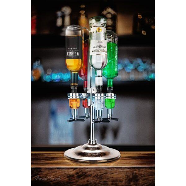 Final Touch 4 Bottle Rotary Drinks Optics Bar Caddy