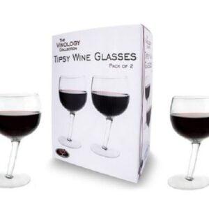 Pack of 2 Tipsy Wonky Novelty Wine Glasses