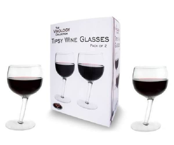 Pack of 2 Tipsy Wonky Novelty Wine Glasses
