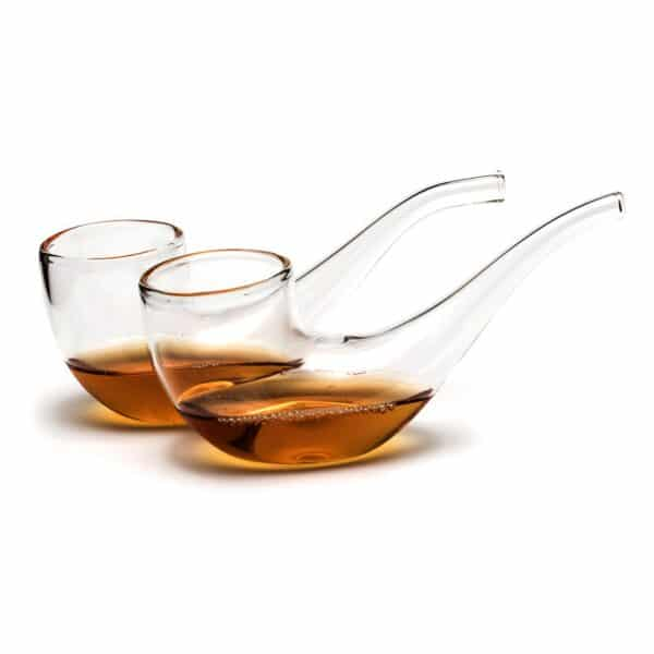Set of 2 Brandy Pipe Sipping Glasses & Wooden Stand