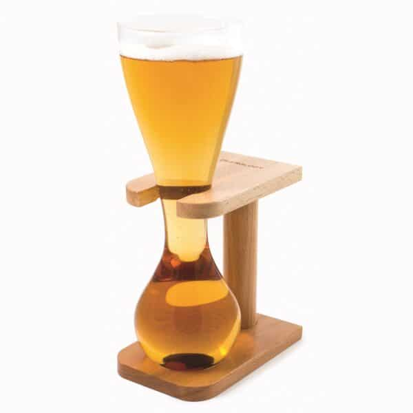 Quarter Yard of Ale Glass with Wooden Stand
