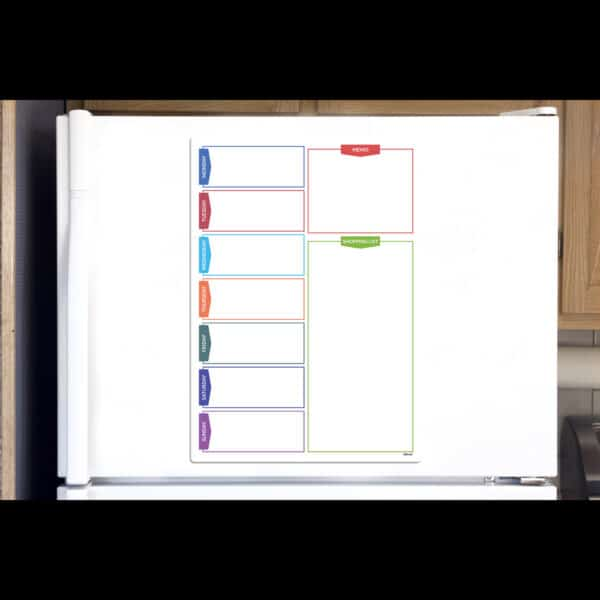 Magnetic Daily Planner Board With Shopping List on a fridge