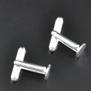 Cufflink Blanks Backs 8mm Round Pad Silver Tone