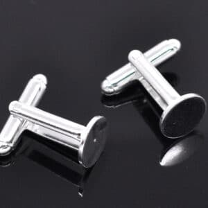 Silver Tone Cufflink Blanks Backs 10mm Round Pad