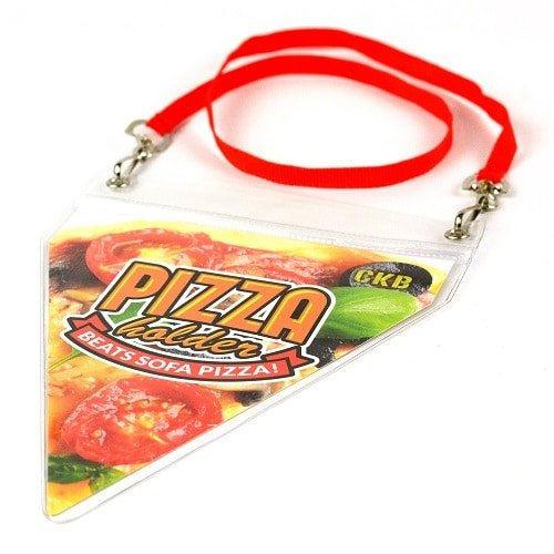 Pizza holder and red lanyard