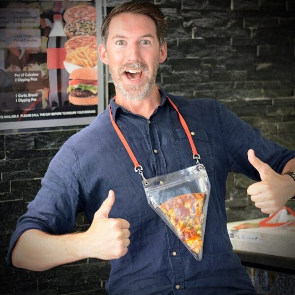 Pizza holder man