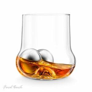 Rolling the steel balls around the whiskey glass