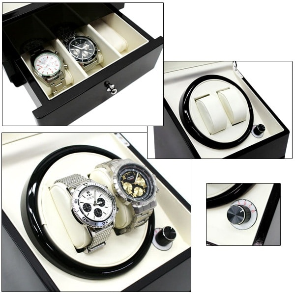 CKB Ltd Deluxe Automatic Double Watch Winder with Draw