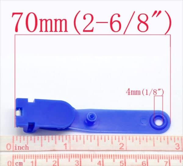 100 x Blue Plastic Crocodile Clips for ID Badge Holders Strap 70 x 13mm