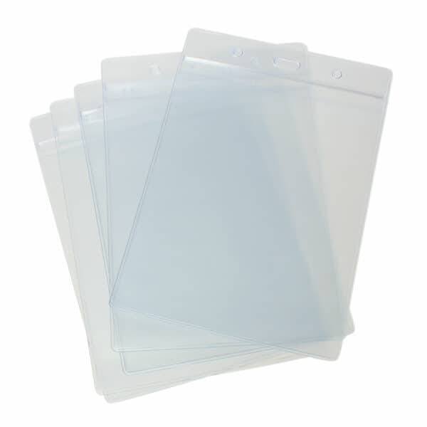 Vertical A6 ID Badge Card Holder Plastic PVC Wallet 17.5cm x 11.8cm