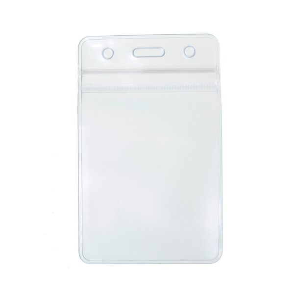 Show Clear Vertical Id Badge Card Plastic Pocket Holder Pouches 11 X 6.8cm-0