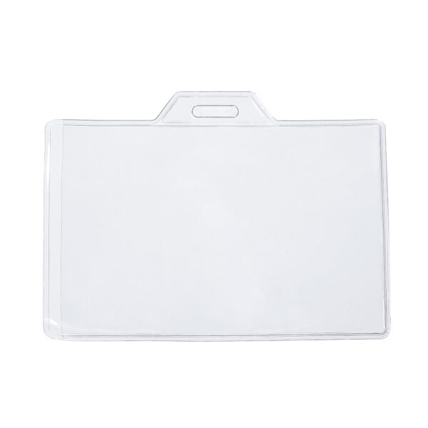 Horizontal ID Badge Card Plastic Holder Pouches