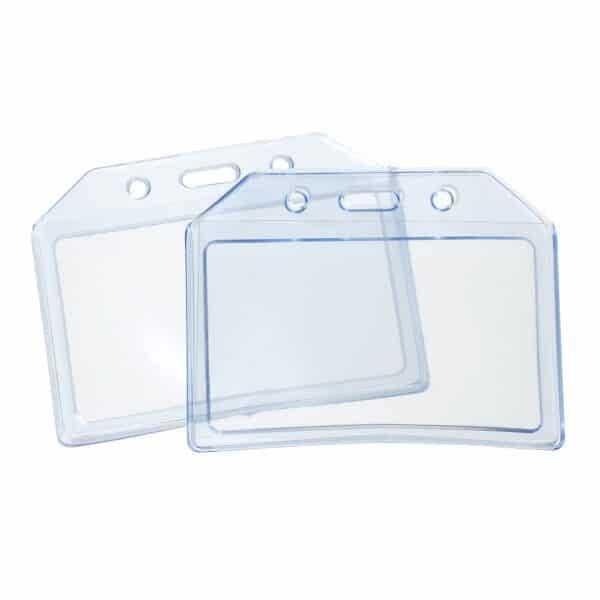 Durable Plastic Clear Blue ID Card Badge Holder