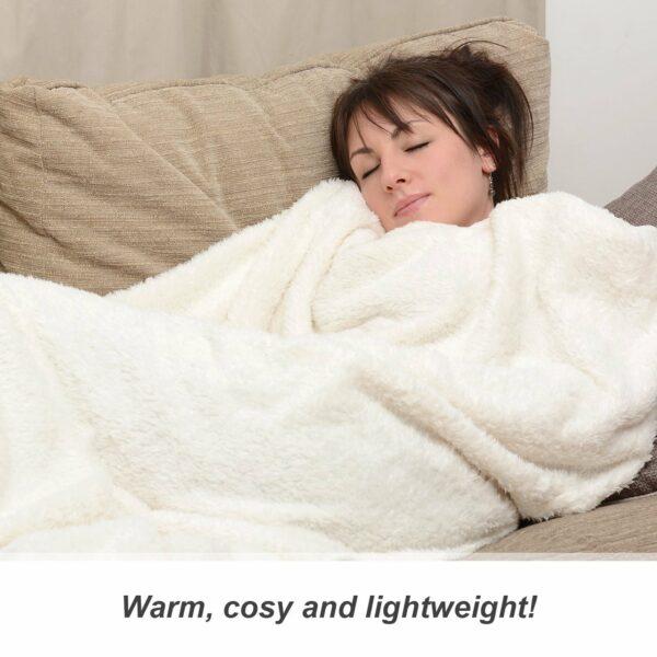 Snug-Rug Sherpa Throw Blanket Cream