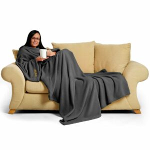 Slate Grey Snug-Rug DELUXE Blanket With Sleeves-0