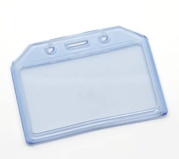 Durable Plastic Clear Blue ID Card Badge Holder