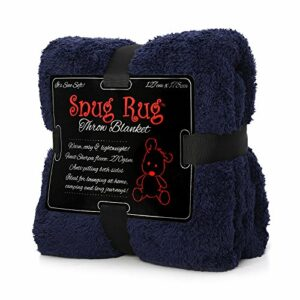 Navy Blue Snug-Rug Sherpa Throw Blanket