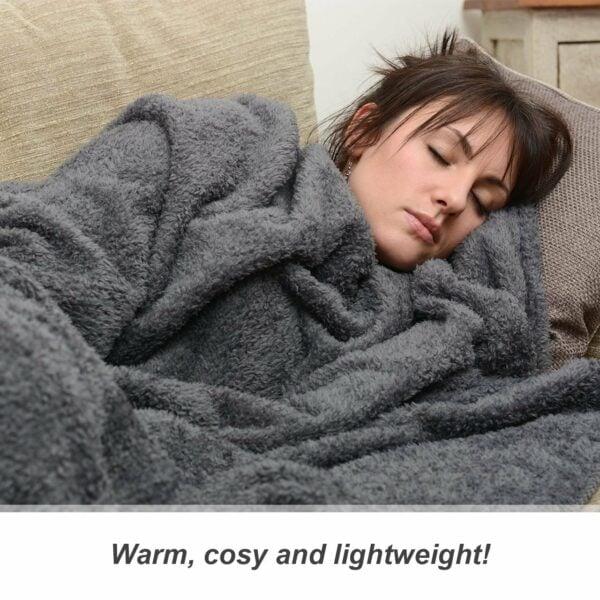Snug-Rug Sherpa Throw Blanket Slate Grey