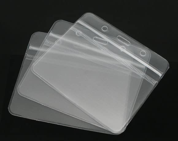 ID Badge Card Plastic Pocket Holder Horizontal Pouches 10 x 8cm
