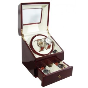 Burgundy Deluxe Automatic Double Watch Winder with Drawer