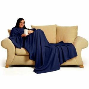 Navy Blue Snug-Rug DELUXE Blanket With Sleeves