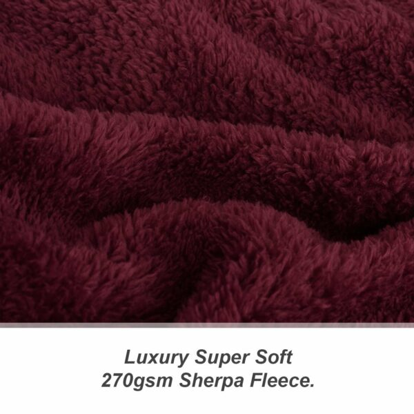 Snug Rug Sherpa Throw Blanket Mulberry Red