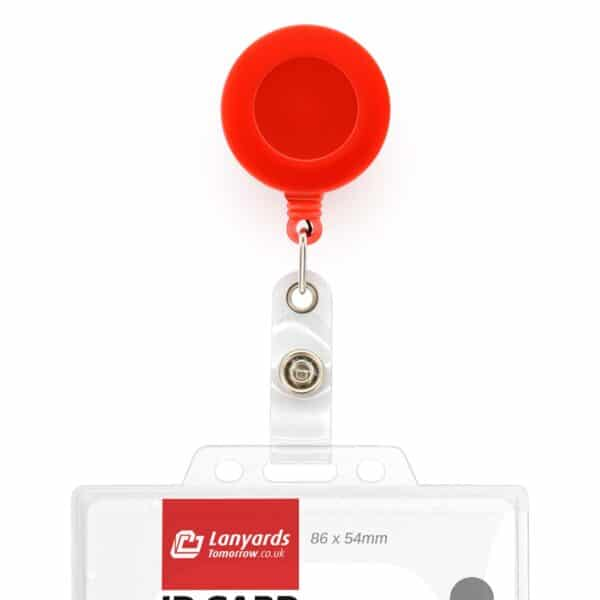 Retractable ID Badge Reels with Belt Clip - Red