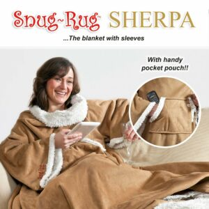 Snug-Rug Sherpa Soft Faux Suede Sleeved Blanket-0
