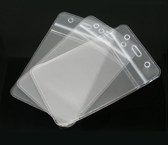 Show Clear Vertical Id Badge Card Plastic Pocket Holder Pouchs 11 X 6.8cm