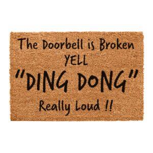 Doorbell broken yell ding dong really loud themed doormat