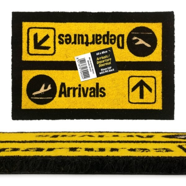 Arrivals And Departures Airport Novelty Coir Doormat