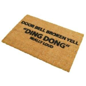 Door Bell Broken Yell Funny Coir Doormat