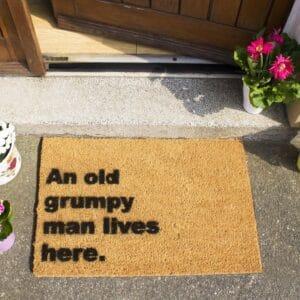 Grumpy Man Lives Here Funny Coir Doormat
