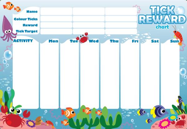 Magnetic Reward Chart Fridge Board - Ocean Creatures