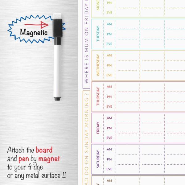 7 Day Family Planner Magnetic Fridge Memo Board