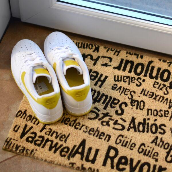 Bonjour, Au Revoir Novelty Coir Front Doormat