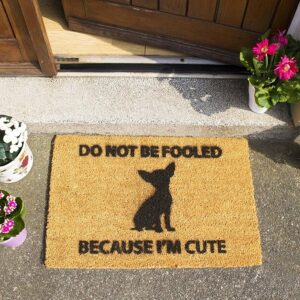 Chihuahua Because I'm Cute Coir Front Doormat-0