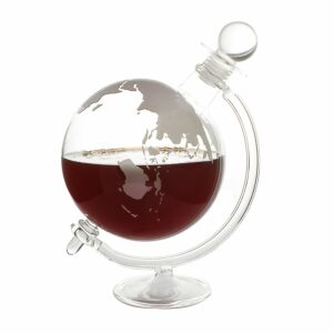 Globe Decanter With Cradle Holder & Glass Cork Lid