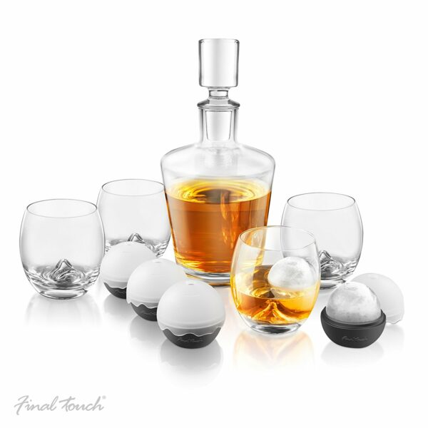 Final Touch Whisky Decanter and On The Rock Glasses Set