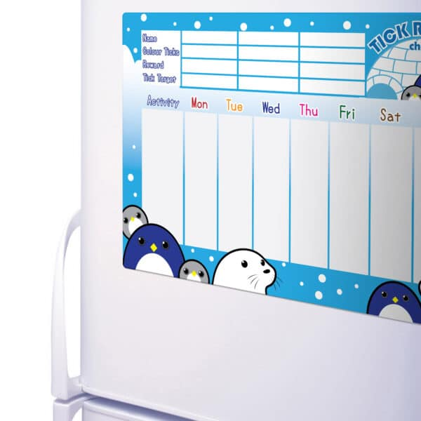 Penguin and Friends Magnetic Reward Chart on a Fridge