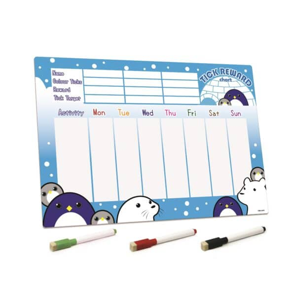 Penguin and Friends Magnetic Reward Chart Fridge Board with Pens