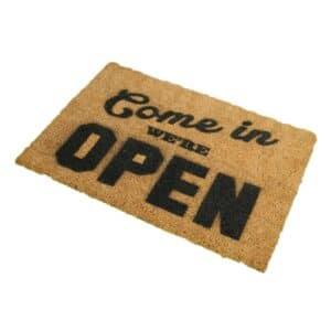 Come In We're Open Novelty Coir Front Doormat