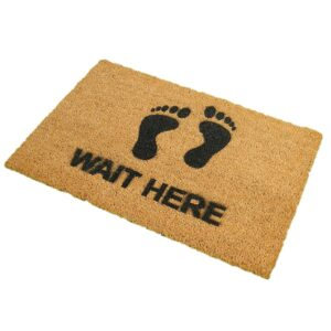 Wait Here Novelty Coir Front Doormat