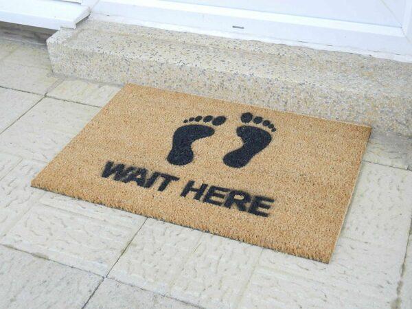 Wait Here Novelty Coir Front Doormat