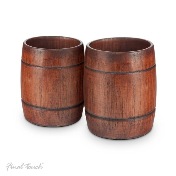 Final Touch Wood Barrel Tumblers Wooden Cocktail Glasses