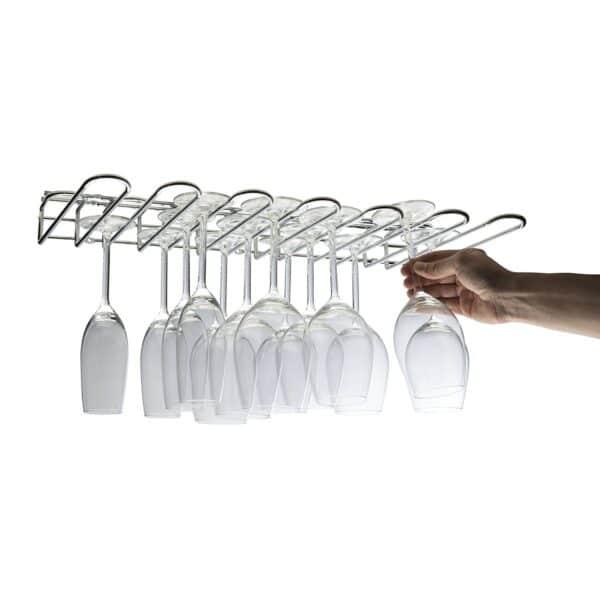 6 Row Under Cupboard Wall Mounted Wine Glass Rack