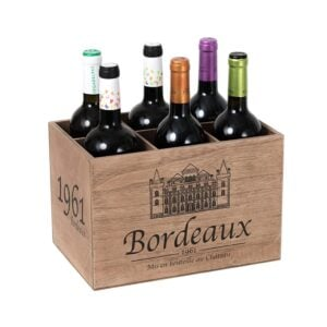 Wine 6 Bottle Holder Rustic Wood Crate Storage Rack Display