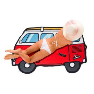Red Campervan Beach Towel