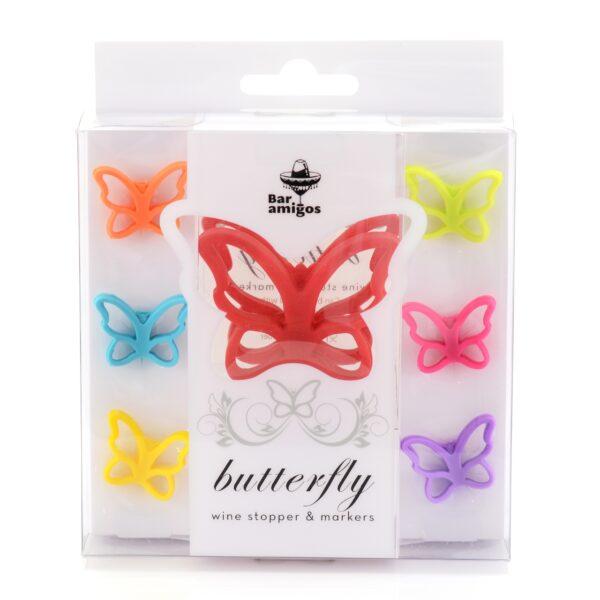 Butterfly Wine Bottle Stopper & Wine Glass Markers Set-7925