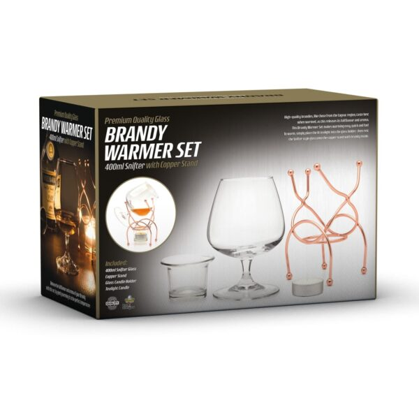 Brandy Warmer Set Snifter Glass With Copper Stand